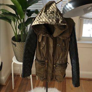Zara Military Jacket with faux Leather sleeves